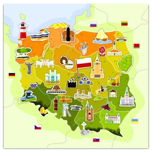 Mapa Szklana Magnetyczna Polska Turystyczna Wymiar Do Wyboru
