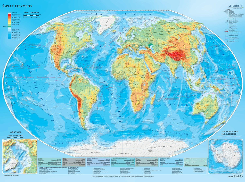 Swiat Mapa Fizyczna 2018 Z Elementami Ekologii Tablicaszkolna Pl